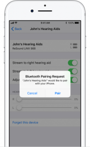 asking for pairing hearing aids with iPhone via a pop up message