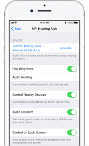 hearing aids are connected to iphones and can be controlled by iphone