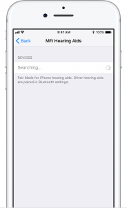 method showing the iPhone searching for hearing aids pair