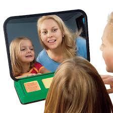 Speech teach portable mirror