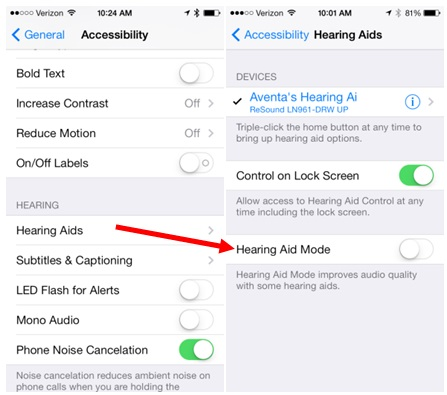 methods to activate hearing aids on iPhone